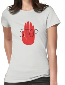 STOP (ft. Deoxyrebornicleic) Womens Fitted T-Shirt