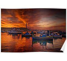 Marsaxlokk Sunrise, Malta Poster