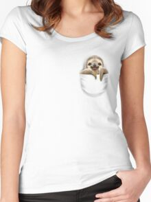 POCKET SLOTH Women's Fitted Scoop T-Shirt