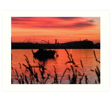 A Lone Boat At Dawn Art Print