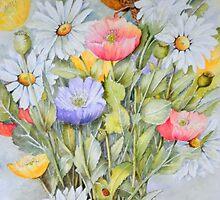 Fledgling wren,Icelandic Poppies and Daisies by Jorja