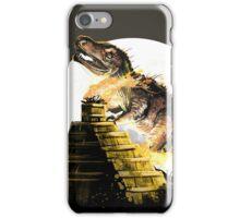 mayan dinosaur in the fire in the night iPhone Case/Skin
