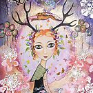 """christmas """"Rowan, girl with antlers"""" by sue mochrie"""