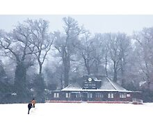 No cricket today - winter in Weybridge Photographic Print
