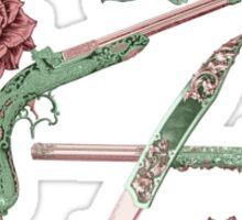 Elegant Guns, Knives and Roses on Blue Sticker
