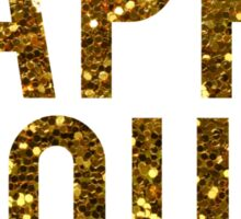 Gold Glitter Happy Hour Sticker