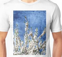 Cherry Blossoms on Blue Unisex T-Shirt