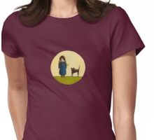 Between the Line - Girl with Dog Womens Fitted T-Shirt