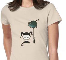 Hippopotamus Dream - Girl with Balloon Womens Fitted T-Shirt