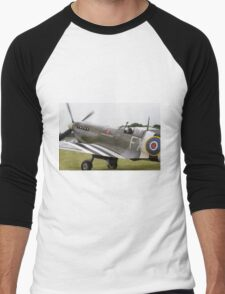 Spitfire at Commemoration of The Hardest Day which took place at Biggin Hill Airport Men's Baseball ¾ T-Shirt