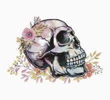 Watercolor Skull wth flowers Baby Tee
