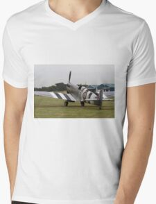 Spitfire at Commemoration of The Hardest Day which took place at Biggin Hill Airport Mens V-Neck T-Shirt