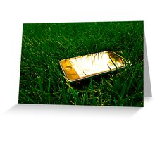Golden iPhone on the lawn Greeting Card