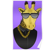 Giraffe with Tattoos Sunglasses Gold Chain and Black Shirt Poster
