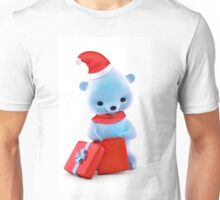 Teddy bear with Christmas gift isolated on white background Unisex T-Shirt