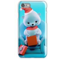 Teddy bear with Christmas box sitting on a sofa iPhone Case/Skin