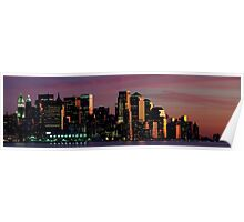 Downtown  Panoramic New York Cityscape Skyline at Night. NYC, USA Poster