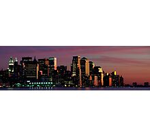 Downtown  Panoramic New York Cityscape Skyline at Night. NYC, USA Photographic Print