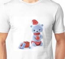 Christmas bear sitting with ball on hands Unisex T-Shirt