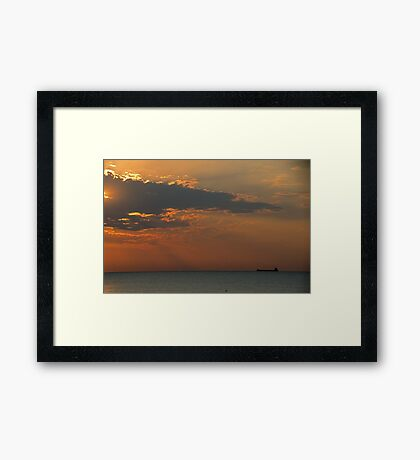Morning's First Freighter Framed Print
