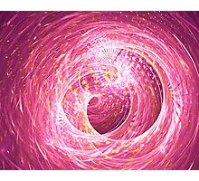 Abstract pink fantasy tunnel with yellow glitters pieces Photographic Print