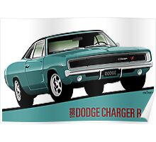 Dodge Charger R/T 1968 turquoise Poster