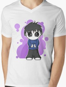 Sad manga boy Mens V-Neck T-Shirt