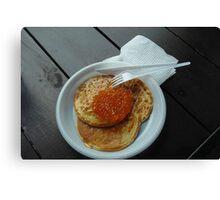 Caviar on pancake Canvas Print