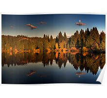 Moon over Mill Pond Poster