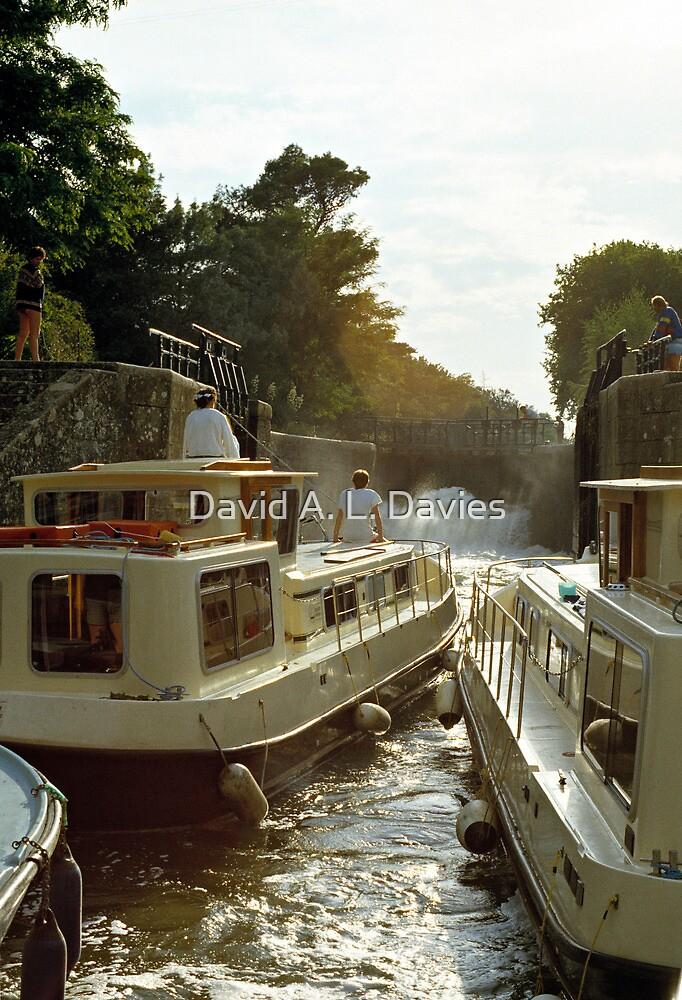 Locks filling, Canal Du Midi, France, 1980's by David A. L. Davies