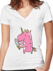 Unicorn and ice cream Women's Fitted V-Neck T-Shirt