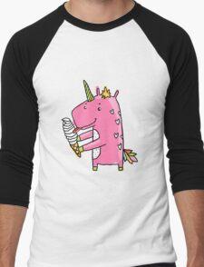 Unicorn and ice cream Men's Baseball ¾ T-Shirt
