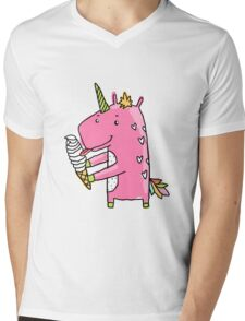 Unicorn and ice cream Mens V-Neck T-Shirt
