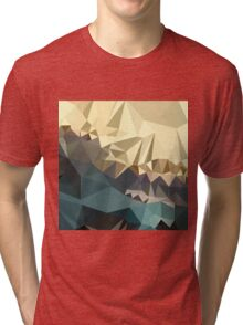 Ecru Brown Blue Abstract Low Polygon Background Tri-blend T-Shirt