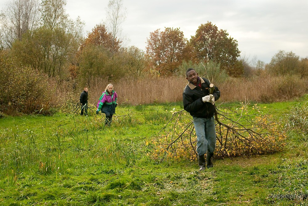 Young volunteers at work in nature by steppeland