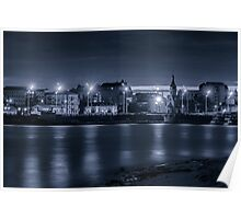 Light of night city. Church of St. Nicholas on the water. Poster