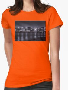 Light of night city. Church of St. Nicholas on the water. Womens Fitted T-Shirt