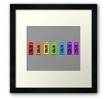 Rainbow Phone boxes  Framed Print