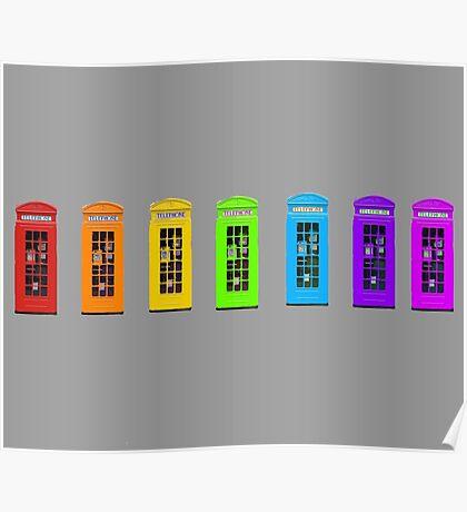 Rainbow Phone boxes  Poster