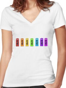 Rainbow Phone boxes  Women's Fitted V-Neck T-Shirt