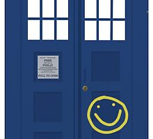 Wholock phone case - TARDIS & smiley face by Mollie Gunning