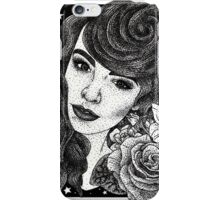 Miss Deadly Red Rose, Illustrated PinUp Portrait iPhone Case/Skin