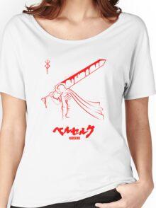 The Black Swordsman - Guts - Berserk - Red Outline Women's Relaxed Fit T-Shirt