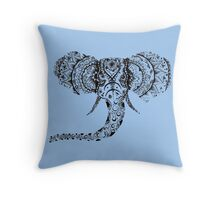 Pastel Blue Elephant Mandala Throw Pillow