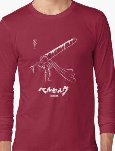 The Black Swordsman - Guts - Berserk - White Outline Long Sleeve T-Shirt