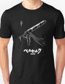 The Black Swordsman - Guts - Berserk - White Outline T-Shirt