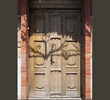 Old wooden door of unpainted wood with curly strips Unisex T-Shirt