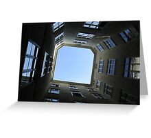 Snail Eye view of Surrounding buildings. Greeting Card