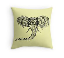 Pastel Yellow Elephant Mandala Throw Pillow