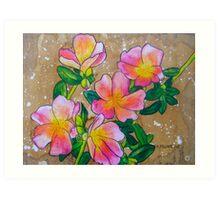 Pink Rock Roses ~ A Collaboration Art Print